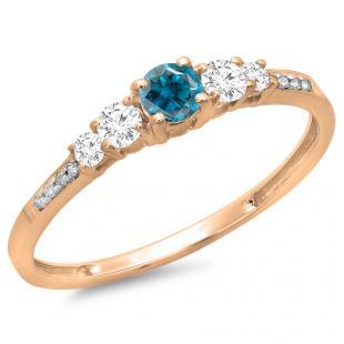 0.40 Carat (ctw) 10K Rose Gold Round Cut Blue & White Diamond Ladies Bridal 5 Stone Engagement Ring