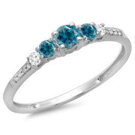 0.40 Carat (ctw) 14K White Gold Round Cut Blue & White Diamond Ladies Bridal 5 Stone Engagement Ring