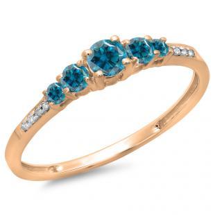 0.40 Carat (ctw) 18K Rose Gold Round Cut Blue & White Diamond Ladies Bridal 5 Stone Engagement Ring