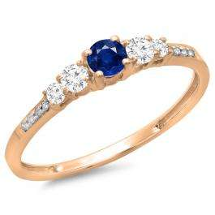 0.40 Carat (ctw) 14K Rose Gold Round Cut Blue Sapphire & White Diamond Ladies Bridal 5 Stone Engagement Ring