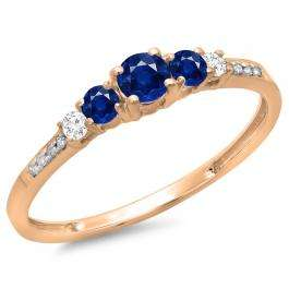 0.40 Carat (ctw) 14K Rose Gold Round Cut Blue Sapphire & White Diamond Ladies Bridal 5 Stone Engagement Ring