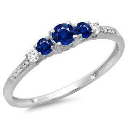 0.40 Carat (ctw) 18K White Gold Round Cut Blue Sapphire & White Diamond Ladies Bridal 5 Stone Engagement Ring