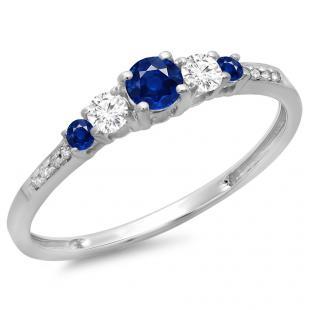 0.40 Carat (ctw) 10K White Gold Round Cut Blue Sapphire & White Diamond Ladies Bridal 5 Stone Engagement Ring