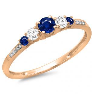 0.40 Carat (ctw) 18K Rose Gold Round Cut Blue Sapphire & White Diamond Ladies Bridal 5 Stone Engagement Ring