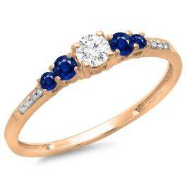 0.40 Carat (ctw) 10K Rose Gold Round Cut Blue Sapphire & White Diamond Ladies Bridal 5 Stone Engagement Ring
