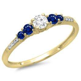 0.40 Carat (ctw) 10K Yellow Gold Round Cut Blue Sapphire & White Diamond Ladies Bridal 5 Stone Engagement Ring
