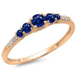 0.40 Carat (ctw) 18K Rose Gold Round Cut Blue Sapphire & White Diamond Ladies Bridal 5 Stone Engagement Ring