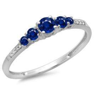 0.40 Carat (ctw) 18K White Gold Round Cut Blue Sapphire & White Diamond Ladies Bridal 5 Stone Engagement Ring