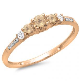 0.40 Carat (ctw) 14K Rose Gold Round Cut Champagne & White Diamond Ladies Bridal 5 Stone Engagement Ring