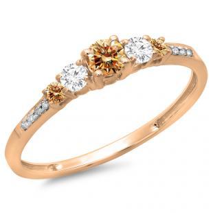 0.40 Carat (ctw) 10K Rose Gold Round Cut Champagne & White Diamond Ladies Bridal 5 Stone Engagement Ring