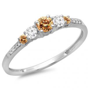0.40 Carat (ctw) 18K White Gold Round Cut Champagne & White Diamond Ladies Bridal 5 Stone Engagement Ring