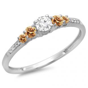 0.40 Carat (ctw) 14K White Gold Round Cut Champagne & White Diamond Ladies Bridal 5 Stone Engagement Ring