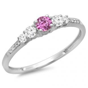0.40 Carat (ctw) 10K White Gold Round Cut Pink Sapphire & White Diamond Ladies Bridal 5 Stone Engagement Ring