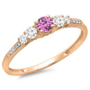 0.40 Carat (ctw) 18K Rose Gold Round Cut Pink Sapphire & White Diamond Ladies Bridal 5 Stone Engagement Ring