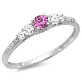 0.40 Carat (ctw) 18K White Gold Round Cut Pink Sapphire & White Diamond Ladies Bridal 5 Stone Engagement Ring