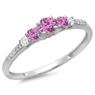 0.40 Carat (ctw) 14K White Gold Round Cut Pink Sapphire & White Diamond Ladies Bridal 5 Stone Engagement Ring