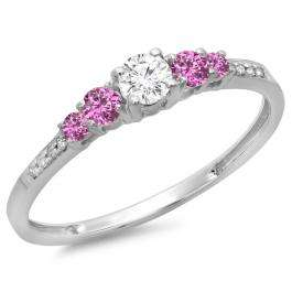 0.40 Carat (ctw) 10K White Gold Round Cut Pink Sapphire & White Diamond Ladies Bridal 5 Stone Engagement Ring