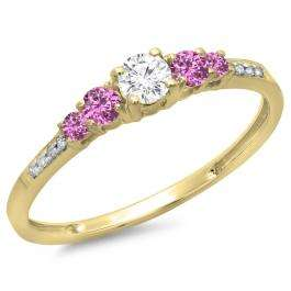 0.40 Carat (ctw) 10K Yellow Gold Round Cut Pink Sapphire & White Diamond Ladies Bridal 5 Stone Engagement Ring