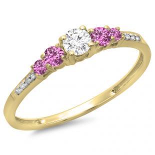 0.40 Carat (ctw) 18K Yellow Gold Round Cut Pink Sapphire & White Diamond Ladies Bridal 5 Stone Engagement Ring