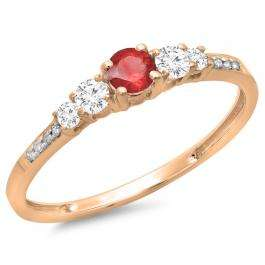 0.40 Carat (ctw) 10K Rose Gold Round Cut Red Ruby & White Diamond Ladies Bridal 5 Stone Engagement Ring