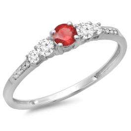 0.40 Carat (ctw) 10K White Gold Round Cut Red Ruby & White Diamond Ladies Bridal 5 Stone Engagement Ring