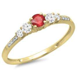 0.40 Carat (ctw) 14K Yellow Gold Round Cut Red Ruby & White Diamond Ladies Bridal 5 Stone Engagement Ring