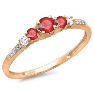 0.40 Carat (ctw) 10K Rose Gold Round Cut Red Ruby & White Diamond Ladies Bridal 5 Stone Engagement Ring