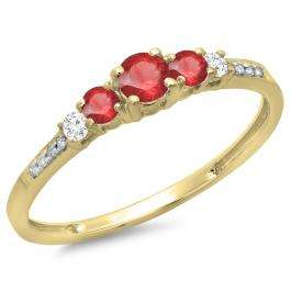 0.40 Carat (ctw) 14K Yellow Gold Round Cut Red Ruby & White Diamond Ladies Bridal 5 Stone Engagement Ring