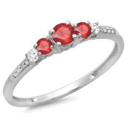 0.40 Carat (ctw) 18K White Gold Round Cut Red Ruby & White Diamond Ladies Bridal 5 Stone Engagement Ring