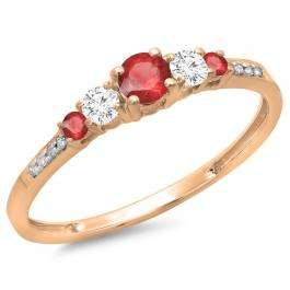 0.40 Carat (ctw) 14K Rose Gold Round Cut Red Ruby & White Diamond Ladies Bridal 5 Stone Engagement Ring
