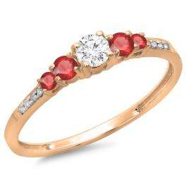 0.40 Carat (ctw) 18K Rose Gold Round Cut Red Ruby & White Diamond Ladies Bridal 5 Stone Engagement Ring