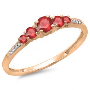 0.40 Carat (ctw) 14K Rose Gold Round Cut Red Ruby & White Diamond Ladies Bridal 5 Stone Engagement Ring