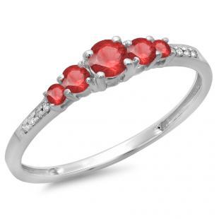 0.40 Carat (ctw) 14K White Gold Round Cut Red Ruby & White Diamond Ladies Bridal 5 Stone Engagement Ring