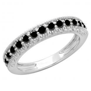 0.55 Carat (ctw) 10K White Gold Round Cut Black Diamond Ladies Millgrain Anniversary Wedding Stackable Band 1/2 CT