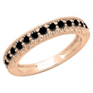 0.55 Carat (ctw) 18K Rose Gold Round Cut Black Diamond Ladies Millgrain Anniversary Wedding Stackable Band 1/2 CT