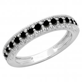 0.55 Carat (ctw) 18K White Gold Round Cut Black Diamond Ladies Millgrain Anniversary Wedding Stackable Band 1/2 CT