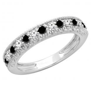 0.55 Carat (ctw) 14K White Gold Round Cut Black & White Diamond Ladies Millgrain Anniversary Wedding Stackable Band 1/2 CT