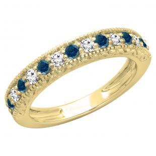 0.55 Carat (ctw) 10K Yellow Gold Round Cut Blue & White Diamond Ladies Millgrain Anniversary Wedding Stackable Band 1/2 CT