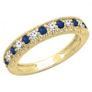 0.55 Carat (ctw) 14K Yellow Gold Round Cut Blue Sapphire & White Diamond Ladies Millgrain Anniversary Wedding Stackable Band 1/2 CT