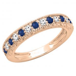 0.55 Carat (ctw) 18K Rose Gold Round Cut Blue Sapphire & White Diamond Ladies Millgrain Anniversary Wedding Stackable Band 1/2 CT