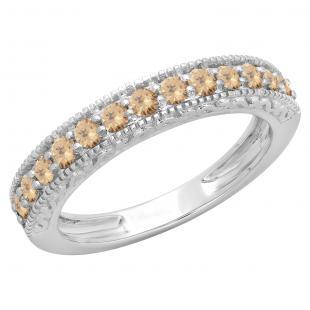 0.55 Carat (ctw) 18K White Gold Round Cut Champagne Diamond Ladies Millgrain Anniversary Wedding Stackable Band 1/2 CT