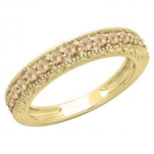 0.55 Carat (ctw) 18K Yellow Gold Round Cut Champagne Diamond Ladies Millgrain Anniversary Wedding Stackable Band 1/2 CT