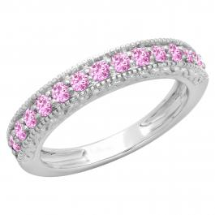 0.55 Carat (ctw) 10K White Gold Round Cut Pink Sapphire Ladies Millgrain Anniversary Wedding Stackable Band 1/2 CT