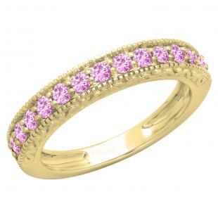 0.55 Carat (ctw) 10K Yellow Gold Round Cut Pink Sapphire Ladies Millgrain Anniversary Wedding Stackable Band 1/2 CT