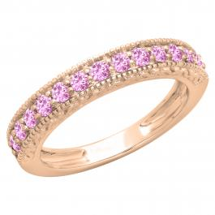 0.55 Carat (ctw) 18K Rose Gold Round Cut Pink Sapphire Ladies Millgrain Anniversary Wedding Stackable Band 1/2 CT