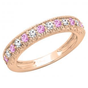 0.55 Carat (ctw) 14K Rose Gold Round Cut Pink Sapphire & White Diamond Ladies Millgrain Anniversary Wedding Stackable Band 1/2 CT
