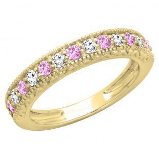 0.55 Carat (ctw) 18K Yellow Gold Round Cut Pink Sapphire & White Diamond Ladies Millgrain Anniversary Wedding Stackable Band 1/2 CT