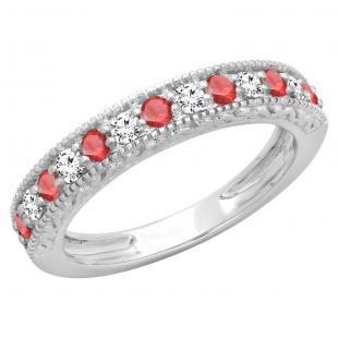0.55 Carat (ctw) 10K White Gold Round Cut Red Ruby & White Diamond Ladies Millgrain Anniversary Wedding Stackable Band 1/2 CT