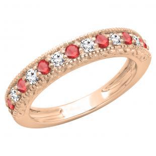 0.55 Carat (ctw) 18K Rose Gold Round Cut Red Ruby & White Diamond Ladies Millgrain Anniversary Wedding Stackable Band 1/2 CT