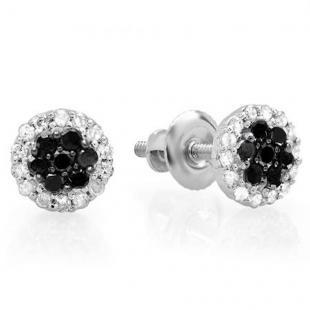 0.30 Carat (ctw) 14K White Gold Black & White Diamond Ladies Cluster Flower Stud Earrings 1/3 CT